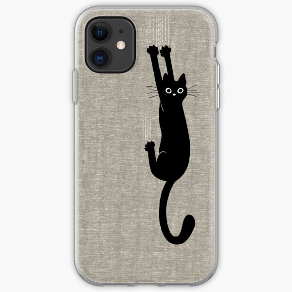 Black Cat Holding On iPhone Soft Case