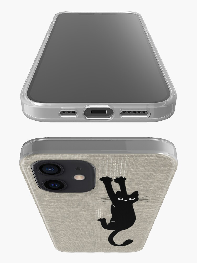 Alternate view of Black Cat Holding On iPhone Case & Cover