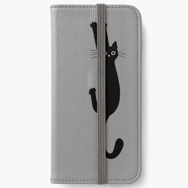 Black Cat Holding On iPhone Wallet