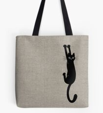 Black Cat Holding On Tote Bag