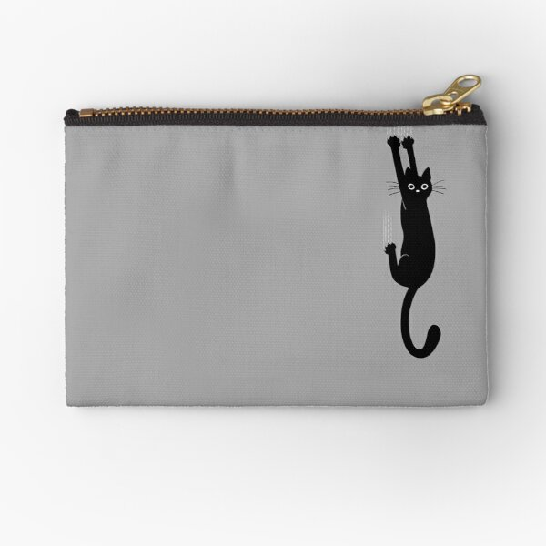 Black Cat Holding On Zipper Pouch