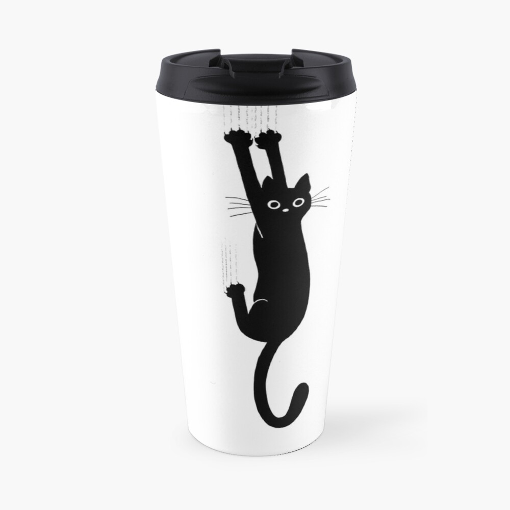 Black Cat Holding On Travel Mug