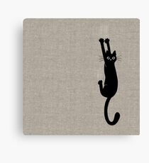Black Cat Holding On Canvas Print