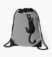 Black Cat Holding On Drawstring Bag