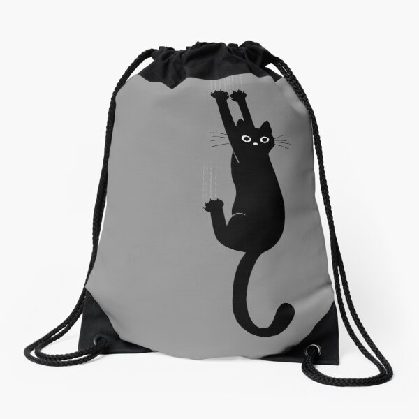 Black Cat Holding On Drawstring Bag