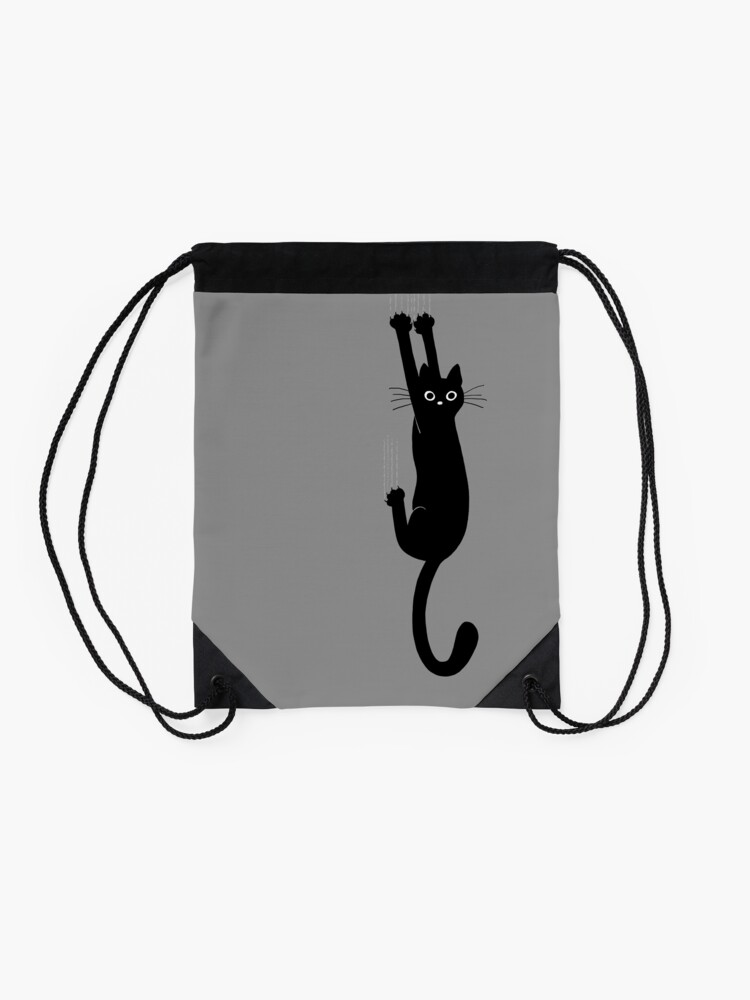 Alternate view of Black Cat Holding On Drawstring Bag
