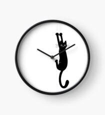 Black Cat Holding On Clock
