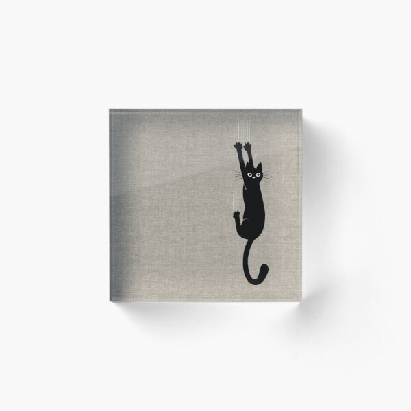 Black Cat Holding On Acrylic Block