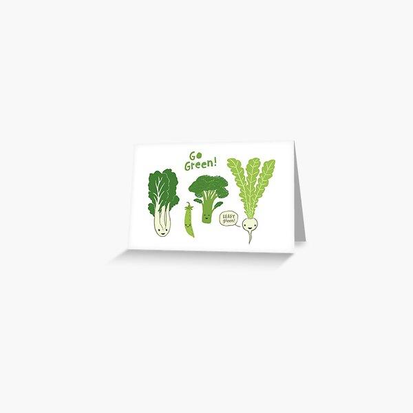Go Green! (Leafy Green!) Happy Garden Vegetables Greeting Card