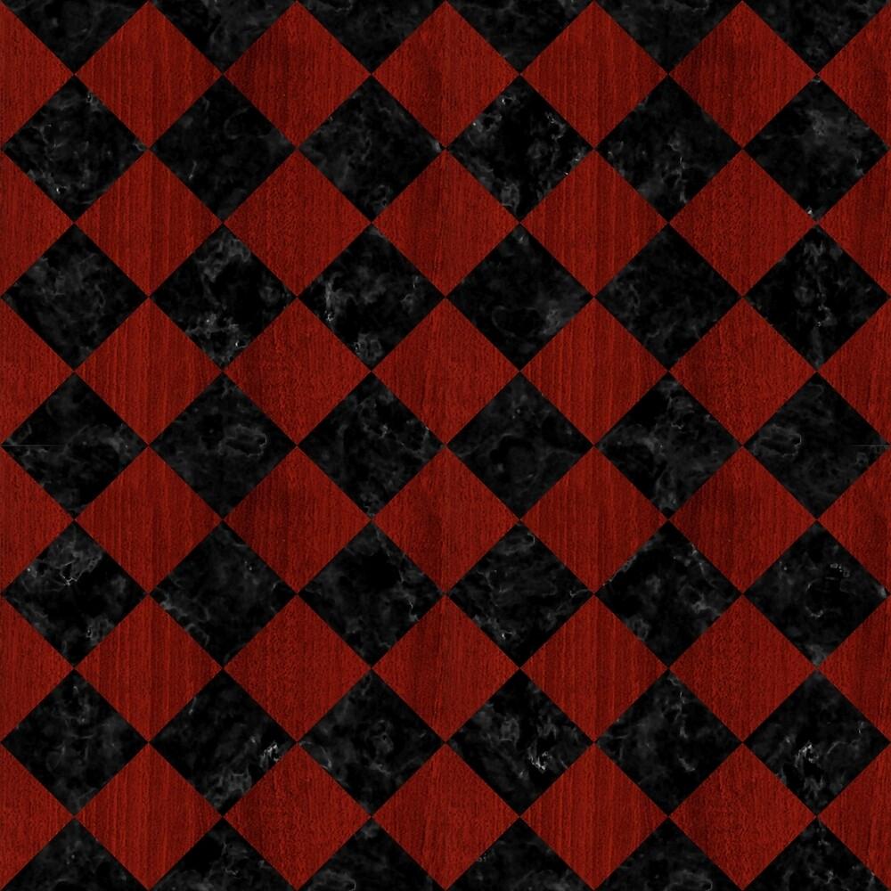 SQUARE2 BLACK MARBLE & REDDISH-BROWN WOOD by johnhunternance