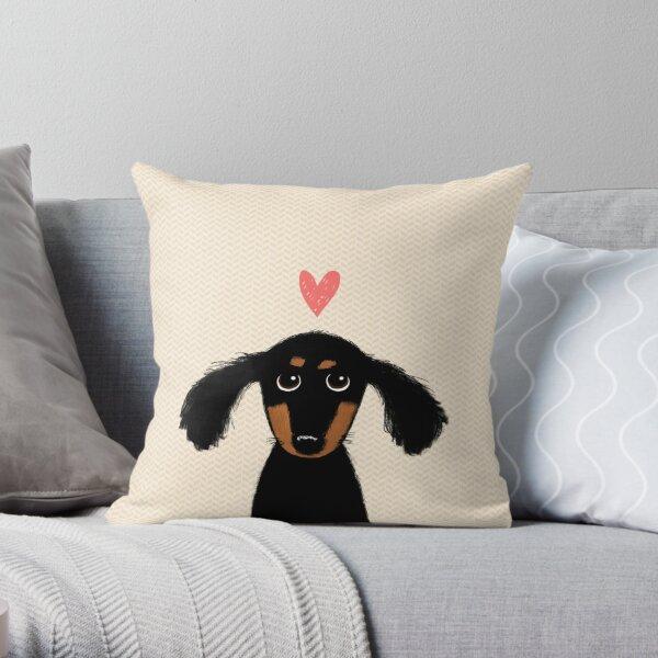 Dackel Welpen Liebe | Netter schwarzer und brauner Wiener Hund mit Herz Dekokissen