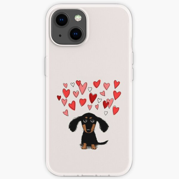 Cute Dachshund Puppy Dog with Valentine Hearts iPhone Soft Case