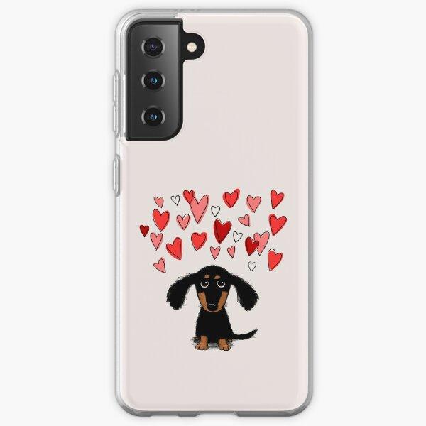 Cute Dachshund Puppy Dog with Valentine Hearts Samsung Galaxy Soft Case