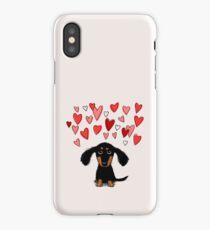 Cute Dachshund Puppy with Valentine Hearts iPhone Case