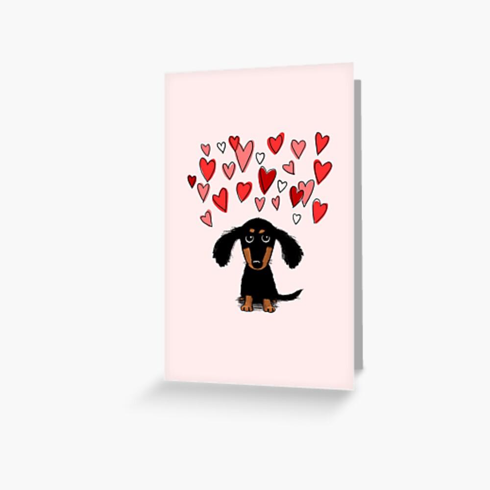 Cute Dachshund Puppy Dog with Valentine Hearts Greeting Card