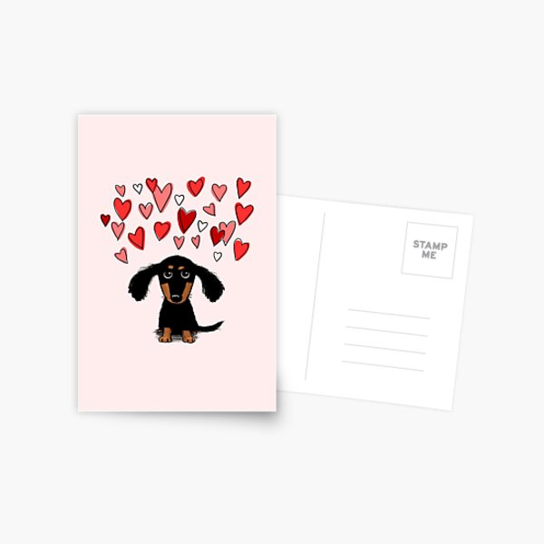 Cute Dachshund Puppy Dog with Valentine Hearts Postcard