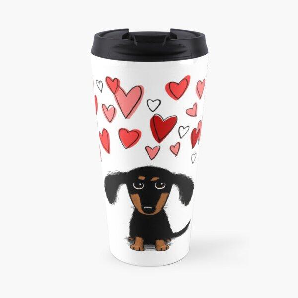 Cute Dachshund Puppy Dog with Valentine Hearts Travel Mug