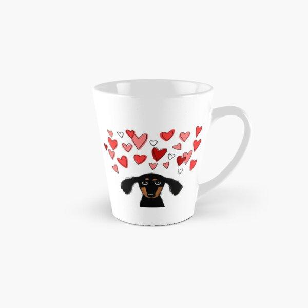 Cute Dachshund Puppy Dog with Valentine Hearts Tall Mug