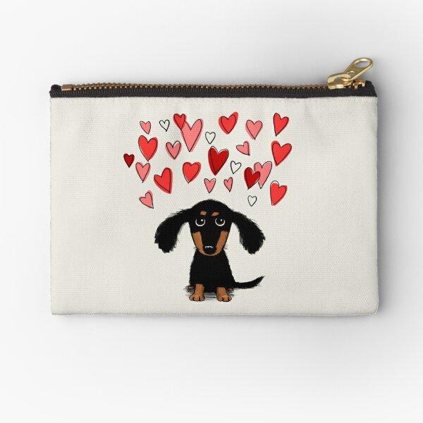 Cute Dachshund Puppy Dog with Valentine Hearts Zipper Pouch