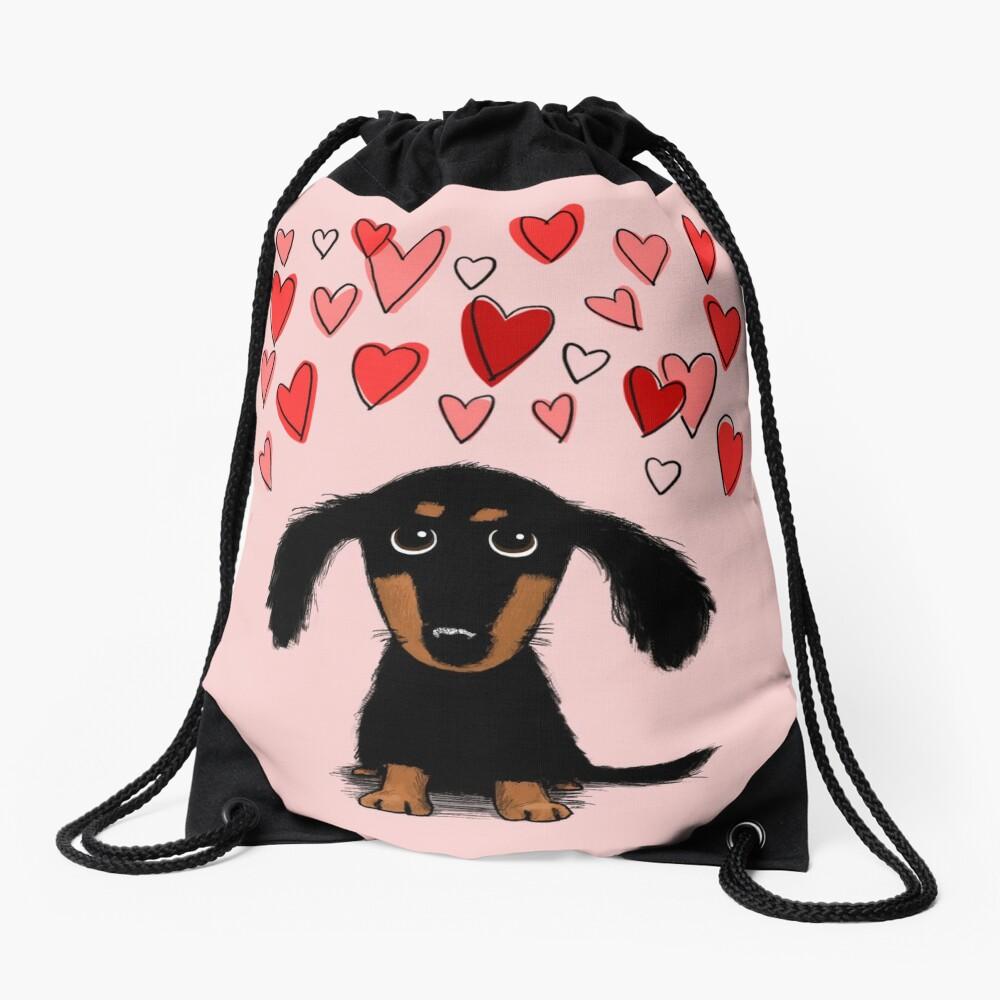 Cute Dachshund Puppy Dog with Valentine Hearts Drawstring Bag