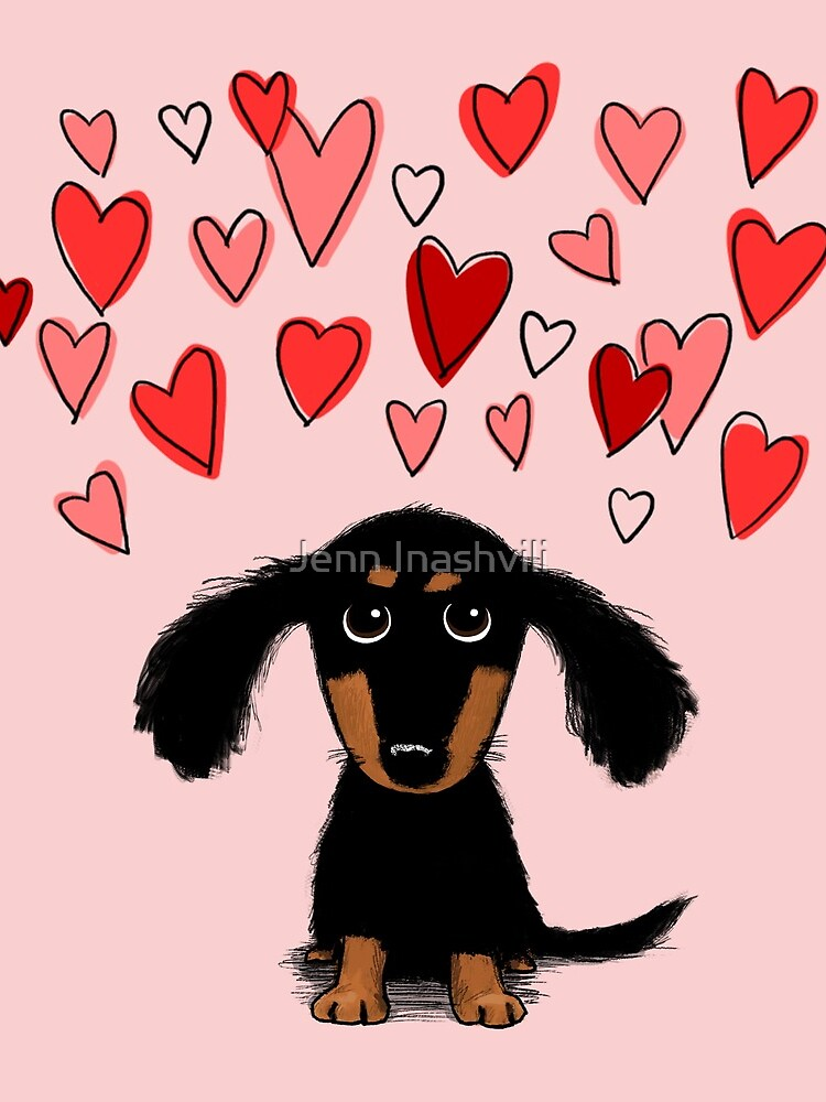 Cute Dachshund Puppy Dog with Valentine Hearts by ShortCoffee