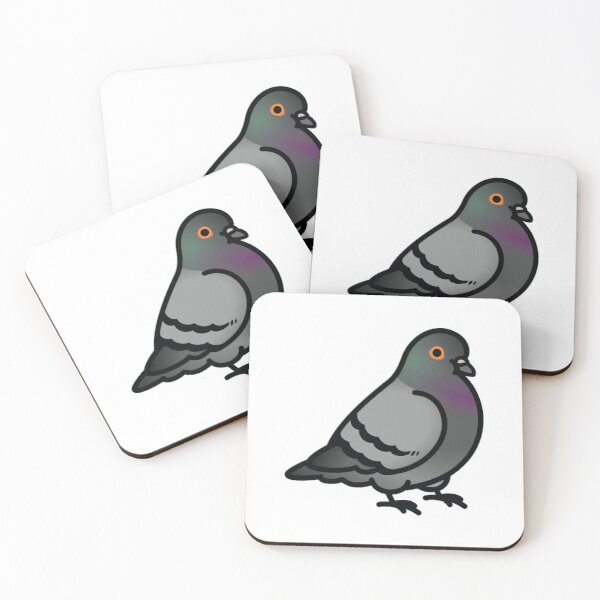 Chubby Pigeon Coasters (Set of 4)