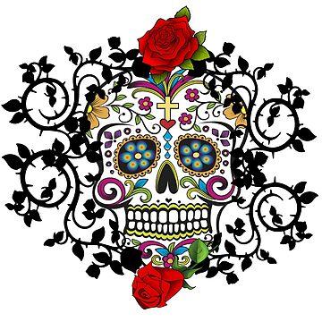 Sugar Skull & Roses by PugD