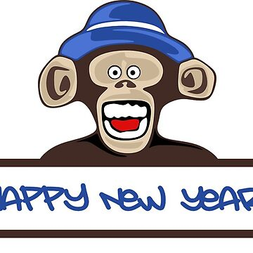 Happy New Year Monkey Cute and Funny by RajaArslan321