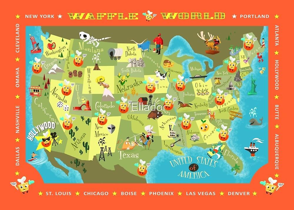 Waffle World Map By Ellador Redbubble
