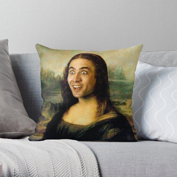 Mona Lisa ~ Nicolas Cage Throw Pillow