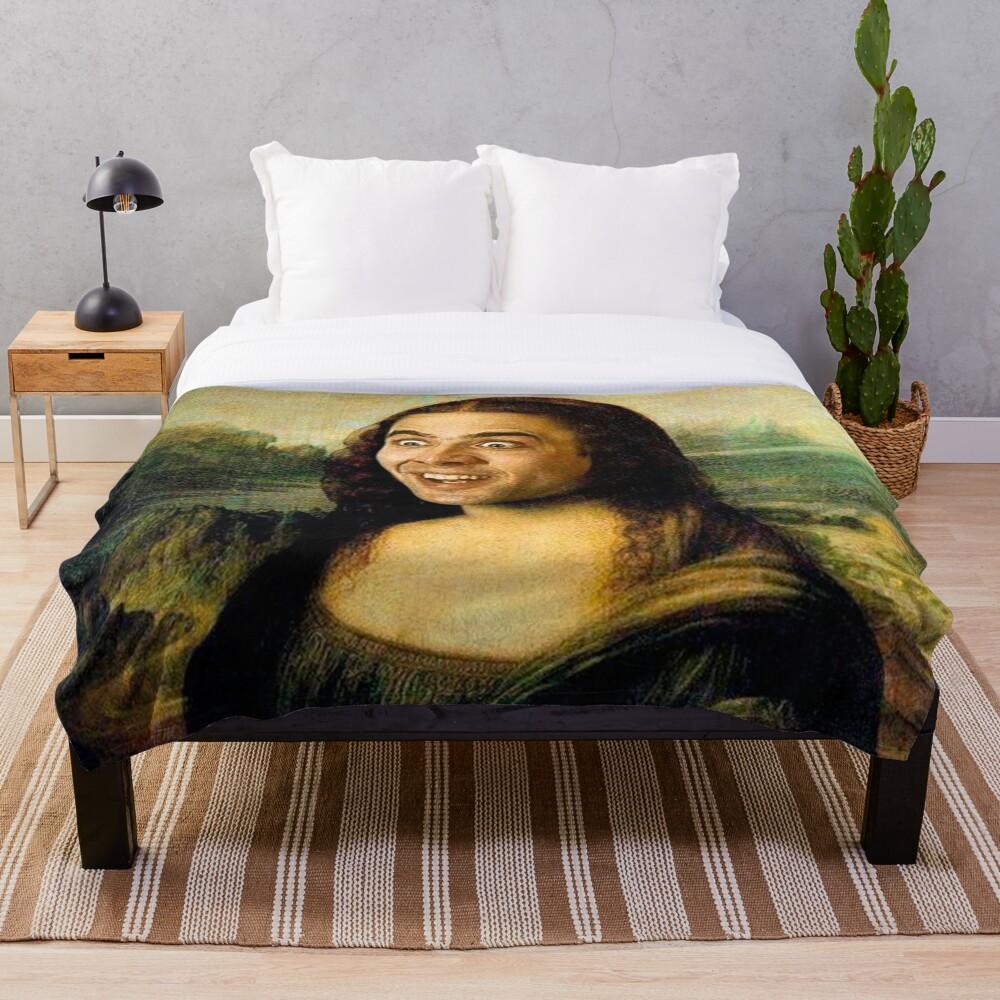 Mona Lisa ~ Nicolas Cage Throw Blanket