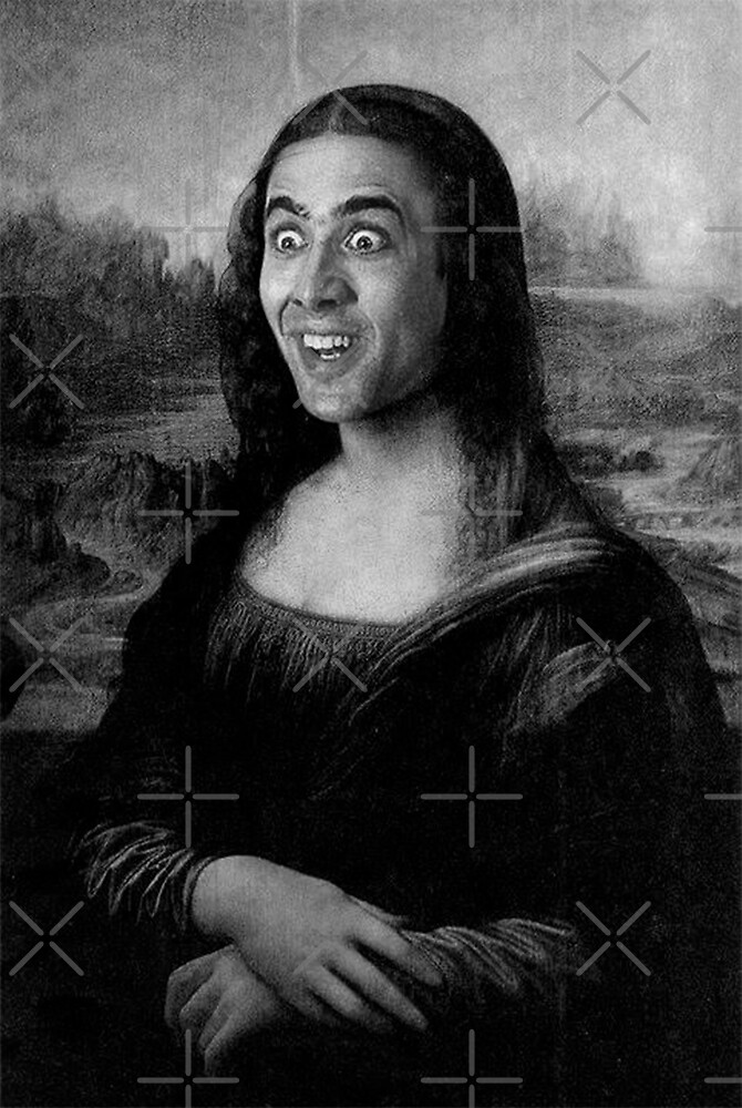Mona Lisa ~ Nicolas Cage (Black & White) by TroyBolton17