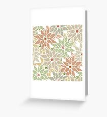 Seamless floral pattern with cute cartoon green flowers print Greeting Card