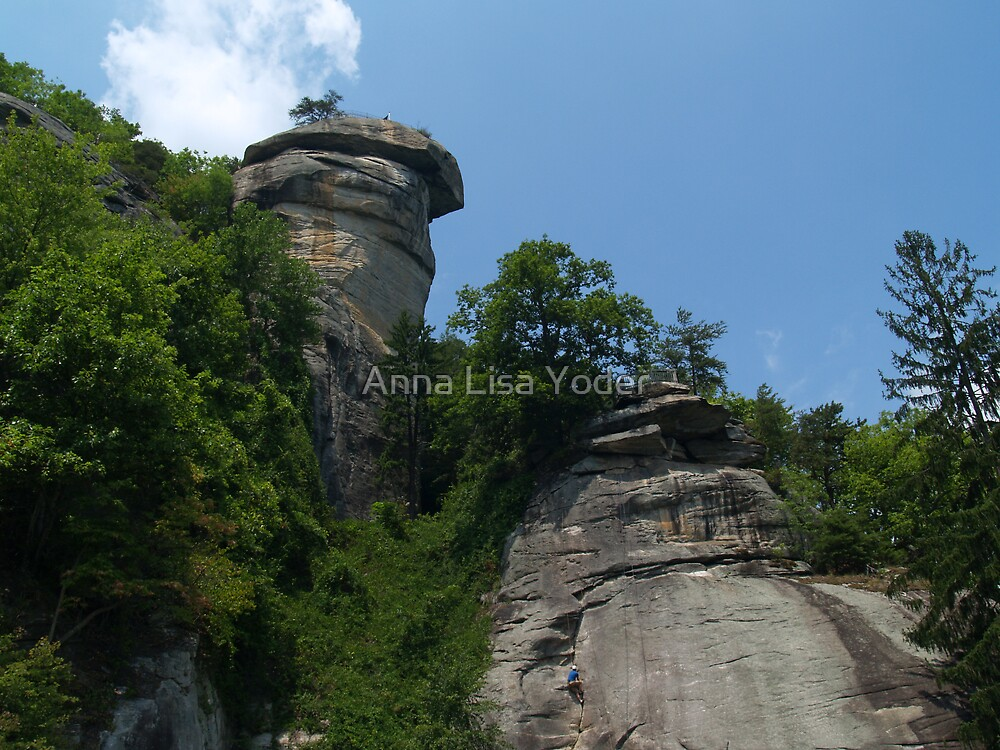 Chimney Rock with Climber by Anna Lisa Yoder