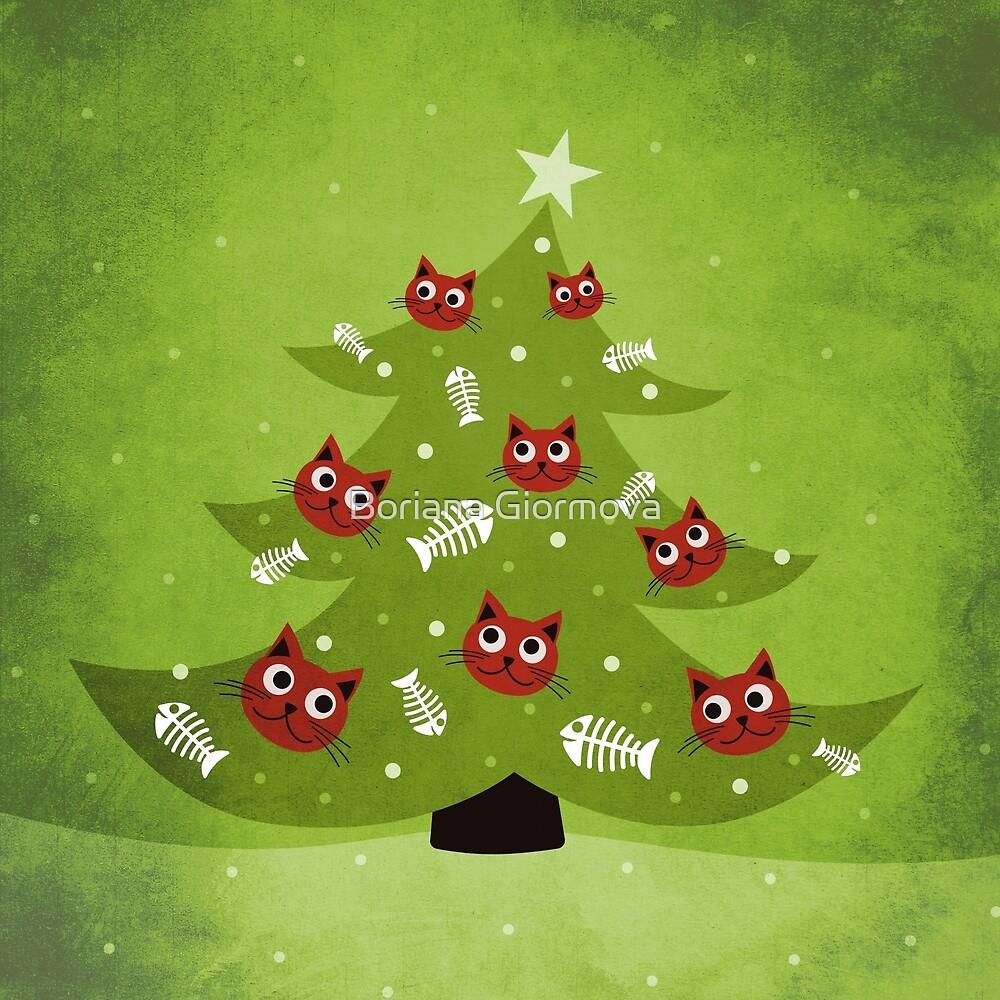 Cat Christmas Tree With Funny Kitty Heads And Fishbone Ornaments by Boriana Giormova