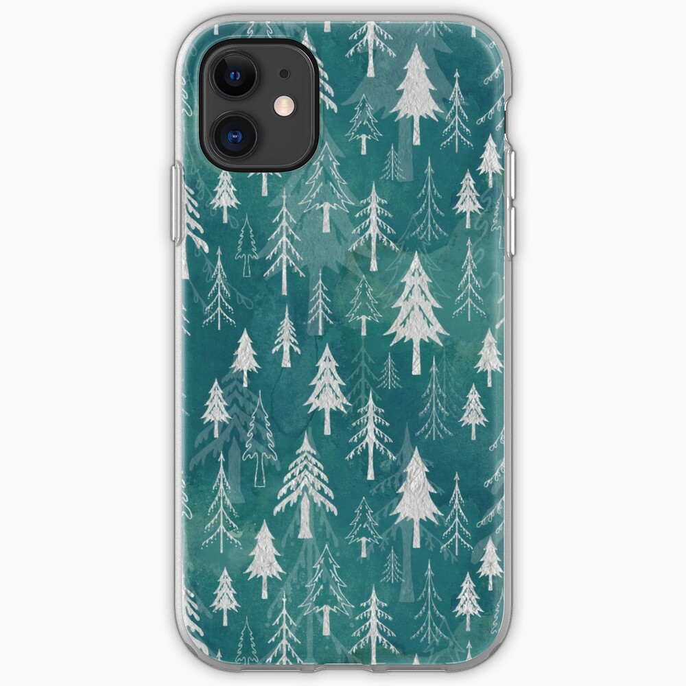 Christmas tree mix in arctic blues iPhone Case & Cover