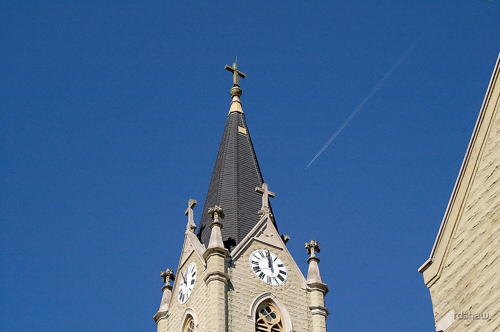 Steeple and Contrail by rdshaw