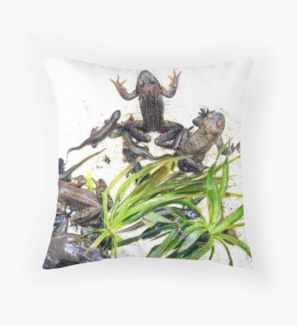 Froggy Furore #2 Throw Pillow