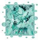 Dove With Celtic Peace Text In Aqua Tones by taiche