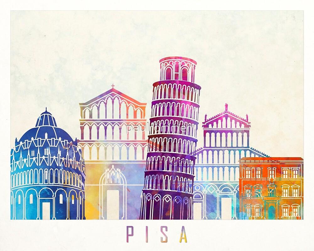 Pisa landmarks watercolor poster by paulrommer