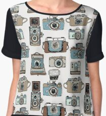 Hand drawn pattern with old fashioned cameras Women's Chiffon Top