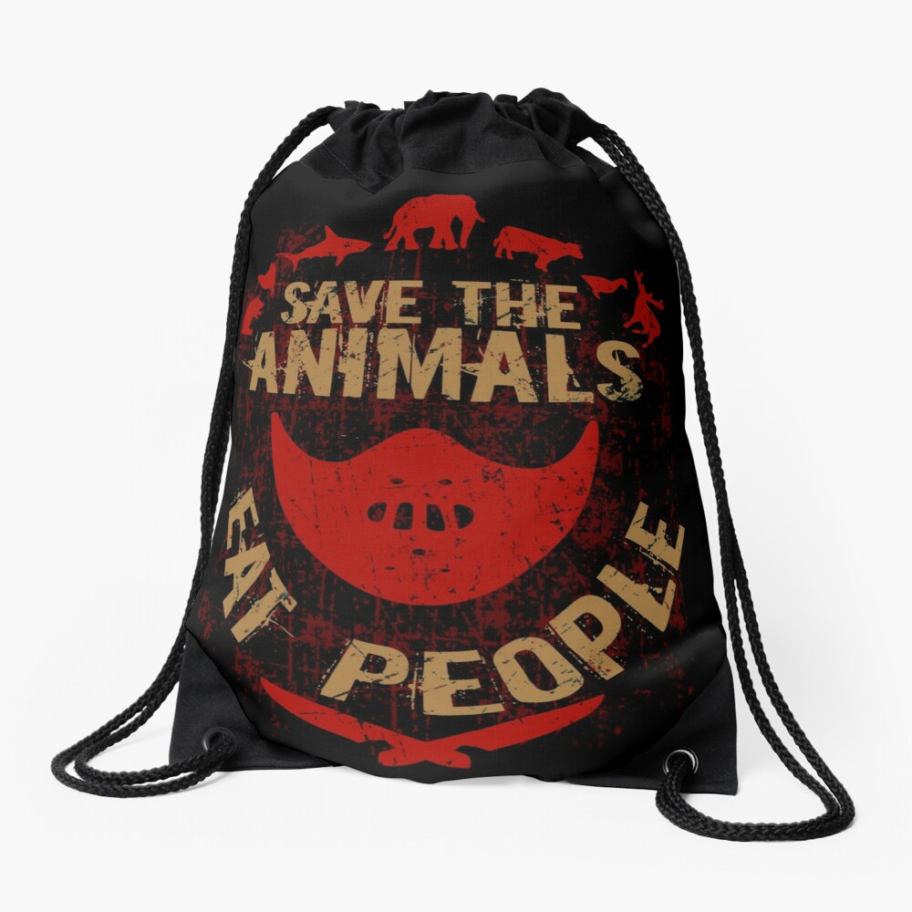 save the animals, EAT PEOPLE Drawstring Bag