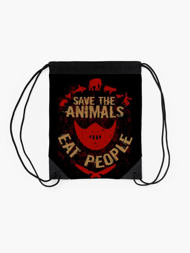 Alternate view of save the animals, EAT PEOPLE Drawstring Bag