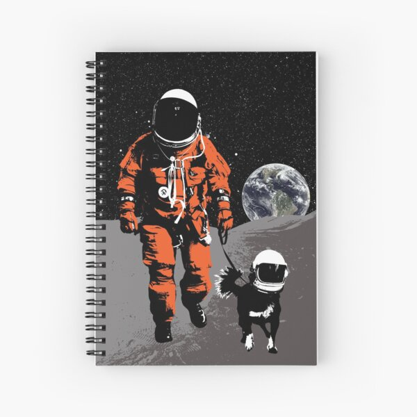 Astronaut walking his dog on the moon Spiral Notebook