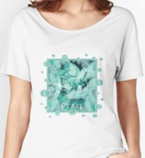 Dove With Celtic Peace Text In Aqua Tones Women's Relaxed Fit T-Shirt