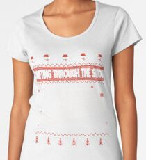Drifting Through The Snow Ugly Christmas Sweater Women's Premium T-Shirt