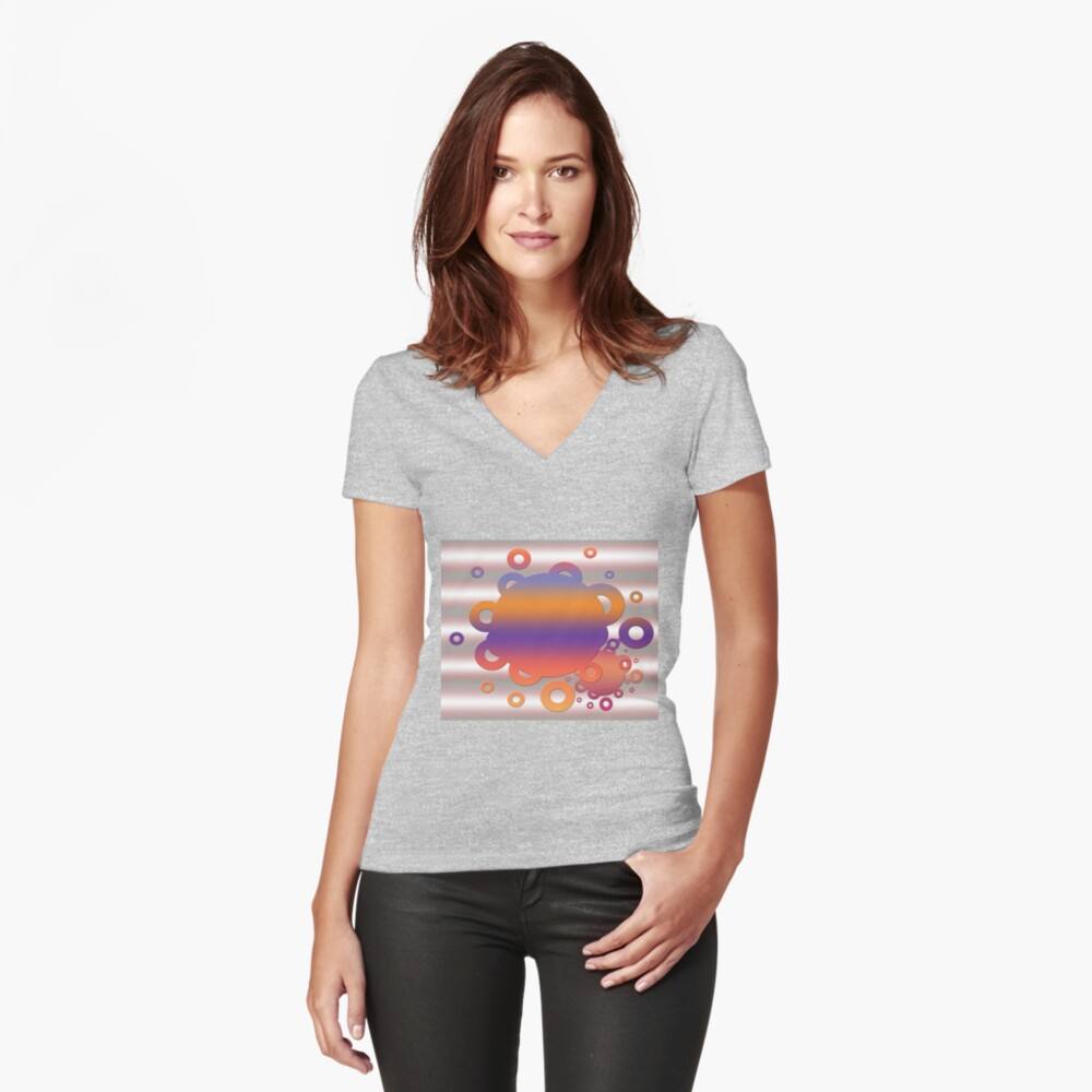 Bubbles in orange and purple Women's Fitted V-Neck T-Shirt Front