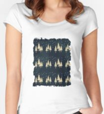 Snow landscape on navy blue Women's Fitted Scoop T-Shirt