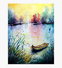 Watercolor River Sunset and Boat Photographic Print