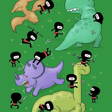 Ninjas vs Dinosaurs by Queenmob